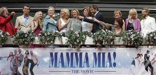 <p>Cast and members of Abba appear together at the premiere of the motion picture version of the musical 'Mamma Mia' in Stockholm in this file photo from July 4, 2008. From left to right are: Abba's Benny Andersson, Pierce Brosnan, Amanda Seyfried, Meryl Streep, Abba members Agnetha Faltskog and Anni-Frid Lyngstad, Christine Baranski, Colin Firth, screenwriter Catherine Johnson (pointing), director Phyllida Lloyd, producer Judy Craymer and Abba member Bjorn Ulvaeus. REUTERS/Bob Strong</p>