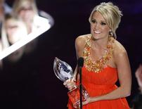 <p>Country music singer Carrie Underwood accepts the award for Favorite Female Singer at the 35th annual People's Choice awards in Los Angeles January 7, 2009. REUTERS/Danny Moloshok</p>