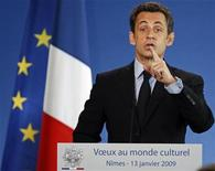 <p>France's President Nicolas Sarkozy delivers a speech during the New Year greetings ceremony to French culture officials in Nimes, January 13, 2009. REUTERS/Jean-Paul Pelissier</p>