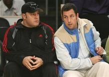 <p>Actors Kevin James (L) and Adam Sandler attend the NBA basketball game between the Los Angeles Lakers and the Boston Celtics at Staples Center in Los Angeles, December 25, 2008. REUTERS/Danny Moloshok</p>