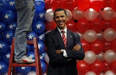 <p>A worker stands on a ladder beside a newly-installed wax figure of President-elect Barack Obama at Madame Tussauds in Hong Kong, January 20, 2009, just before Obama takes office on Tuesday in Washington. REUTERS/Bobby Yip</p>