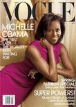 <p>Portada de la edición de marzo de la Revista Vogue donde aparece la primera dama estadounidense, Michelle Obama, en una fotografía realizada por Annie Leibovitz. Michelle Obama adornará la portada de la revista Vogue de marzo, siendo la segunda vez que una primera dama estadounidense está en tapa de una de las mayores publicaciones mundiales de modas. REUTERS/Annie Leibovitz/Vogue</p>