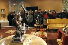 <p>A bronze group of The Rape of Sabine, attributed to Ferdinando Tacca, is displayed during the exhibition of the private art collection of French fashion designer Yves Saint Laurent and his partner Pierre Berge at the Grand Palais in Paris February 21, 2009. The collection will be auction and sold in Paris February 23, 2009, in partnership with Christie's and auction house Pierre Berge and Associates. REUTERS/Regis Duvignau</p>