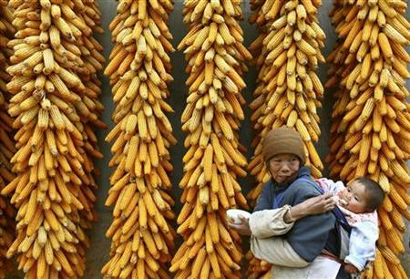 A woman feeds her granddaughter before hanging corn on the outskirts of Kunming, capital of southwest China's Yunnan province November 6, 2006. REUTERS/Stringer