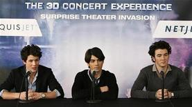 """<p>Musicians Nick, Joe and Kevin Jonas (L-R) speak at a news conference announcing their new movie """"Jonas Brothers: 3D Concert Experience"""" in Westchester, New York February 28, 2009. REUTERS/Cary Horowitz</p>"""