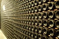 <p>Prosecco wine bottles are seen in a cellar in the Valdobbiadene valley, northern Italy, October 25, 2005. REUTERS/Manuel Silvestri</p>