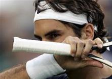 <p>Tenista Roger Federer, durante jogo do torneio de Indian Wells, no sábado. O suíço disse que a paternidade não irá afetar sua carreira. REUTERS/Michael Fiala</p>