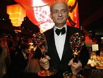 """<p>Creator and producer of the show """"The Sopranos"""" David Chase poses with two Emmy statuettes at the Governor's Ball following the 59th Primetime Emmy Awards in Los Angeles, California September 16, 2007. REUTERS/Mario Anzuoni</p>"""