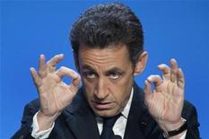 <p>France's President Nicolas Sarkozy delivers a speech at a regional Gendarmerie station in Orleans in this file photo from January 14, 2009. REUTERS/Philippe Wojazer</p>