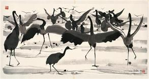 """<p>Chinese artist Wu Guanzhong's """"Crane Dancing """" (2002, ink on paper) in an undated handout released April 24, 2009. Wu never accepted the Cultural Revolution's practical approach to art and how it had to be for the masses. Now, in his 90th year, the Chinese contemporary art master is proving his works really are for the people. To match Reuters Life! ARTS-GUANZHONG/ REUTERS/Wu Guanzhong/Singapore Art Museum/Handout (SINGAPORE SOCIETY) NO SALES. NO ARCHIVES. FOR EDITORIAL USE ONLY. NOT FOR SALE FOR MARKETING OR ADVERTISING CAMPAIGNS</p>"""
