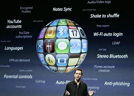 An Apple presentation on the iPhone OS 3.0 software at the Apple campus in Cupertino, March 17, 2009. REUTERS/Robert Galbraith