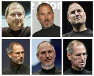 <p>Combinação de fotos do presidente-executivo da Apple, Steve Jobs. Da cima para baixo, da esquerda para direita: julho de 2000, novembro de 2003, setembro de 2005, setembro de 2006, janeiro de 2007 e setembro de 2008.</p>