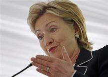 <p>U.S. Secretary of State Hillary Clinton makes remarks after receiving the 2009 Alice Award at Sewall-Belmont House and Museum in Washington in this file photo from June 8, 2009. REUTERS/Jim Young</p>