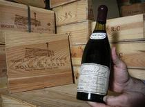 <p>A bottle of Romanee-Conti 1945, a Burgundy wine, is shown in Geneva May 8, 2007. REUTERS/Denis Balibouse</p>