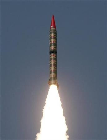 In this file photo a Hatf-VI (Shaheen-II) missile, with a range of 2,000 km (1,242 miles), takes off during a test flight from an undisclosed location in Pakistan April 21, 2008. If it were in a position to do so, Al Qaeda would use Pakistan's nuclear weapons in its fight against the United States, a top leader of the group said in remarks aired Sunday. REUTERS/Stringer