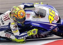<p>Valentino Rossi sulla sua Yamaha. REUTERS/Toussaint Kluiters/United Photos</p>