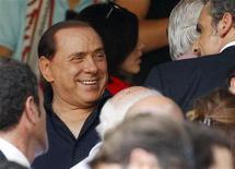 <p>Berlusconi allo stadio Giuseppe Meazza. REUTERS/Alessandro Garofalo</p>