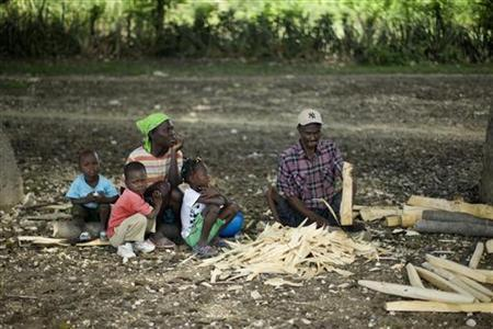In this file photo a disabled Haitian man chops wood next to his family in the border between Haiti and the Dominican Republic at the side of Belladere April 28, 2009. The global recession has pushed up to 90 million more people into extreme poverty, the United Nations said on Monday, warning that a reduction in foreign aid could cause more hunger and disease. REUTERS/ Eduardo Munoz