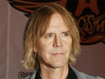 """<p>Aerosmith's Tom Hamilton attends a press conference for the new video game """"Guitar Hero: Aerosmith"""" in New York, June 27, 2008. REUTERS/Lucas Jackson</p>"""