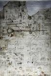 <p>A sheet of Leonardo Da Vinci's 12-volume Atlantic Code on display in Milan July 17, 2009. REUTERS/Stefano Rellandini</p>