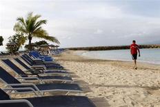 <p>Touristes particulièrement disciplinés, les vacanciers allemands peuvent désormais réserver leurs chaises longues au bord des piscines dans certains hôtels de Turquie, d'Egypte et des Canaries avant même d'avoir pris l'avion, grâce à un système de réservation électronique proposé par la filiale allemande du voyagiste Thomas Cook. /Photo d'archives/REUTERS/Jacky Naegelen</p>