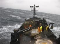 "<p>The fishing boast ""Wizard"" is shown in Alaskan waters during king crab season in a scene from the Discovery Channel's reality show ""Deadliest Catch"" in this undated publicity photo released to Reuters July 28, 2009. REUTERS/Discovery Channel/Handout</p>"