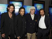 """<p>Videographer Lincoln O'Barry, producer Ben Stiller, actor Richard O'Barry and producer Fisher Stevens (L to R) attend an advance screening of """"The Cove"""", a film about dolphins and a secret cove in Japan, in New York July 15, 2009. REUTERS/Ray Stubblebine</p>"""