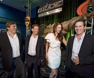 """<p>Brian Goldner, Hasbro's CEO, (2nd L) joins producer Lorenzo di Bonaventura (L), actress Rachel Nichols and director Stephen Sommers in front of a """"Mole Pod"""" from the movie """"G.I. Joe: The Rise of Cobra"""", at Hasbro's Charity Premiere of the movie in Warwick, Rhode Island, August 3, 2009. REUTERS/Ray Stubblebine/Hasbro/Handout</p>"""
