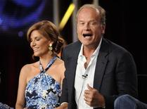 """<p>Cast members Melinda McGraw (L) and Kelsey Grammer from the show """"Hank"""" attend the Disney and ABC Television Group panels at the Television Critics Association summer press tour in Pasadena, California August 8, 2009. REUTERS/Phil McCarten</p>"""
