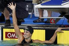 <p>Dara Torres of the U.S. reacts to winning the women's 50m butterfly at the USA Swimming National Championships in Indianapolis, Indiana, July 11, 2009. REUTERS/Brent Smith</p>