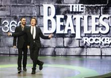 """<p>Musicians Ringo Starr (L) and Paul McCartney introduce the new video game """"The Beatles: Rock Band"""" at the Microsoft XBox 360 E3 2009 media briefing in Los Angeles June 1, 2009. REUTERS/Fred Prouser</p>"""