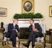 <p>President Obama and Canadian Prime Minister Stephen Harper meet in the Oval Office, September 16, 2009. REUTERS/Larry Downing</p>