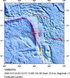 <p>Фотграфия, на которой отмечен эпицентр подводного землетрясения близ островов Вануату 8 октября 2009 года. Сильные подземные толчки магнитудой 7 баллов по шкале Рихтера сотрясли острова Вануату, сообщила Геологическая служба США в четверг. REUTERS/USGS/Handout</p>