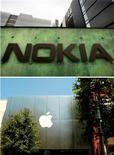 <p>Selon des analystes, Apple s'expose à devoir payer à Nokia jusqu'à un milliard de dollars de dommages et intérêts s'il perd un procès que lui a intenté le fabricant finlandais de téléphones mobiles au sujet de brevets relatifs à des technologies comme le transfert de données sans fil, l'un des éléments essentiels du succès de l'iPhone. /Photos d'archives/REUTERS/Bob Strong/Mario Anzuoni</p>
