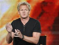 "<p>Chef Gordon Ramsay, star of the new program ""Gordon Ramsay: Cookalong Live"", discusses the show at the Fox Summer Television Critics Association press tour in Pasadena, California August 6, 2009. REUTERS/Fred Prouser</p>"