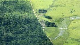 <p>Una veduta di un tratto deforestato di Amazzonia accanto ad uno ancora intatto, nei pressi di Maraba, Brasile centrale. REUTERS/Paulo Whitaker</p>