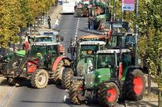 <p>Contadini di diverse regioni, alcuni dei quali arrivati addirittura dalla Sicilia in trattore, si sono dati appuntamento questa mattina a Roma per protestare contro la crisi dell'agricoltura, in occasione del primo giorno del vertice Fao. Nella foto d'archivio la protesta degli allevatori in Lussemburgo. REUTERS/Charles Caratini</p>