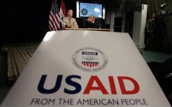 <p>Il logo dell'Usaid, la U.S. Agency for International Development. REUTERS/Wathiq Khuzaie/Pool</p>