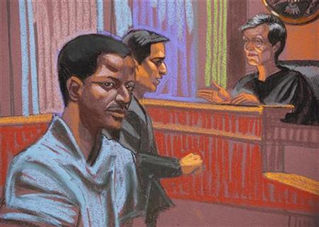 Ahmed Khalfan Ghailani, a Tanzanian held at the U.S. naval base in Cuba since 2006 accused of involvement in the bombing of U.S. embassies in Africa, is depicted in this courtroom sketch of his arraignment, in New York, June 9, 2009. REUTERS/Christine Cornell