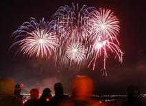 <p>Fireworks explode during New Year's day celebrations in Quebec City, December 31, 2008. REUTERS/Mathieu Belanger</p>