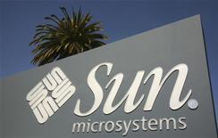 <p>Il logo di Sun Microsystems, al centro delle attenzioni di Oracle. REUTERS/Robert Galbraith</p>