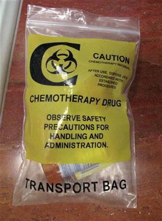 A bag used to hold chemotherapy drugs is pictured at a patient's home in Burbank,California March 16, 2009. REUTERS/Fred Prouser