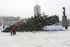<p>Огромная новгодняя елка лежит в центре Владивостока 30 декабря 2009 года. Никто не пострадал в результате падения на центральной площади Владивостока новогодней ёлки весом 15 тонн и высотой свыше 45 метров, сообщили местные власти. REUTERS/Yuri Maltsev</p>