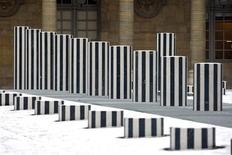 """<p>View of the renovated """"Les Deux Plateaux"""" work, more commonly referred to as the """"Colonnes de Buren"""" (Buren's Columns) designed by French conceptual artist Daniel Buren, in the courtyard of the Palais Royal in Paris January 6, 2010. REUTERS/Charles Platiau</p>"""