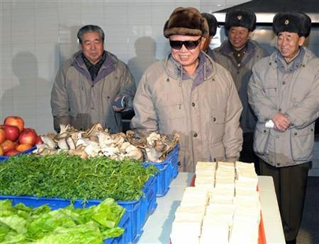 North Korean leader Kim Jong-il (C) looks at fresh produce during a visit to Kangdong Light Electrical Appliance Factory in Pyongyang in this undated picture released by the North's KCNA news agency on January 11, 2010. KCNA did not state expressly the date the picture was taken. REUTERS/KCNA