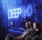 """<p>Cast members Mehcad Brooks (L) and Tina Majorino of the series """"The Deep End"""" participate in a panel discussion at the Disney ABC winter 2010 Television Critics Association press tour in Pasadena, California, January 12, 2010. REUTERS/Danny Moloshok</p>"""