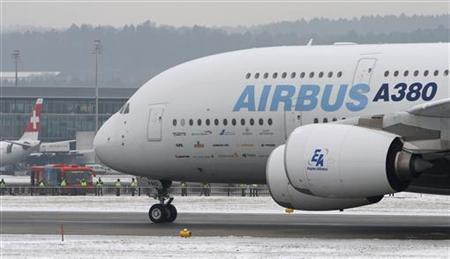 An Airbus A-380 aircraft rolls on a tarmac before taking-off at Zurich airport January 21, 2010. The Airbus A-380 is for the first time in Switzerland to test and confirm its compatibility at the Swiss airports of Zurich and Geneva. REUTERS/Arnd Wiegmann