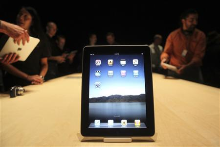 The Apple ''iPad'', a new tablet computing device, sits on display after its launch event in San Francisco, California, January 27, 2010. REUTERS/Kimberly White
