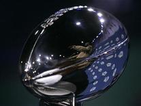<p>Pittsburgh Steelers head coach Mike Tomlin is reflected in the Vince Lombardi Trophy as he answers questions at a news conference in Tampa, Florida, January 30, 2009. REUTERS/Joe Skipper</p>