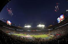 <p>Fireworks fly during pre-game ceremonies prior to the NFL's Super Bowl XLIV football game between the New Orleans Saints and the Indianapolis Colts, in Miami, Florida, February 7, 2010. REUTERS/Carlos Barria</p>